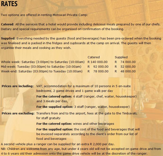 Motswari Private Camp Rates